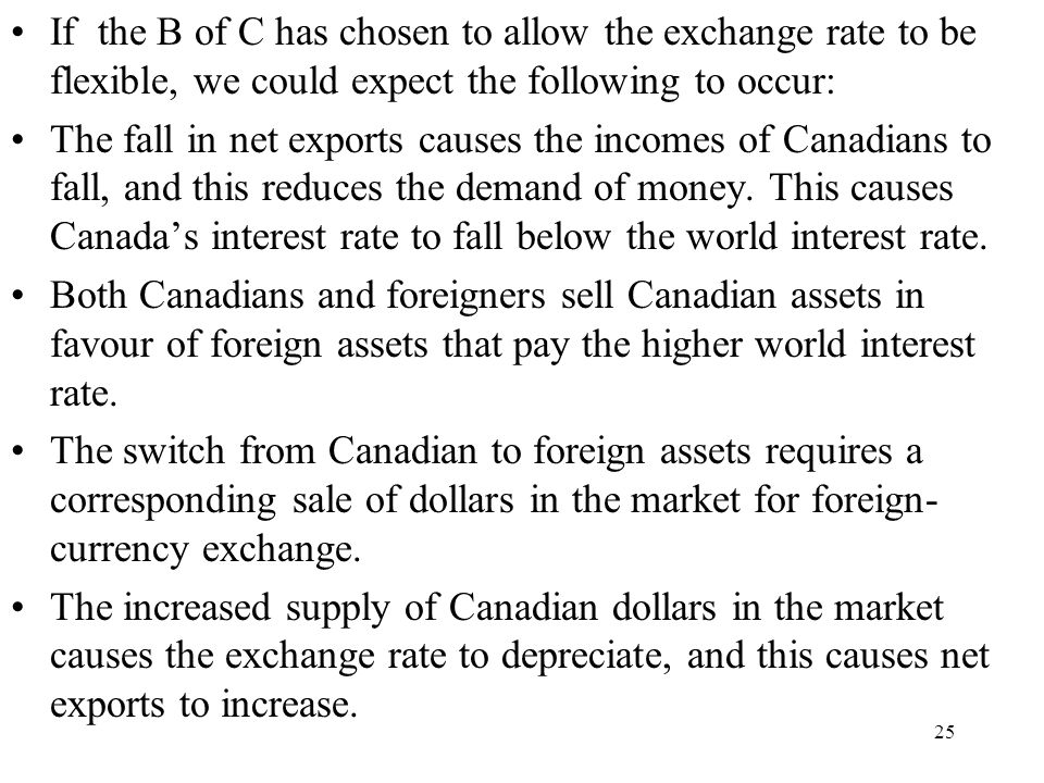 If the B of C has chosen to allow the exchange rate to be flexible, we could expect the following to occur:
