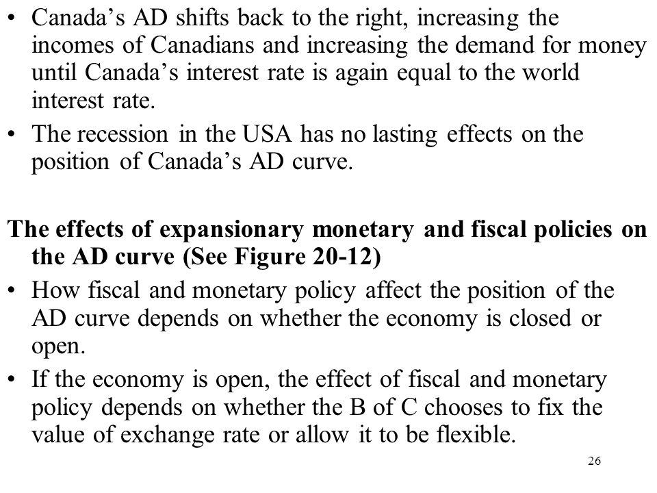 Canada's AD shifts back to the right, increasing the incomes of Canadians and increasing the demand for money until Canada's interest rate is again equal to the world interest rate.