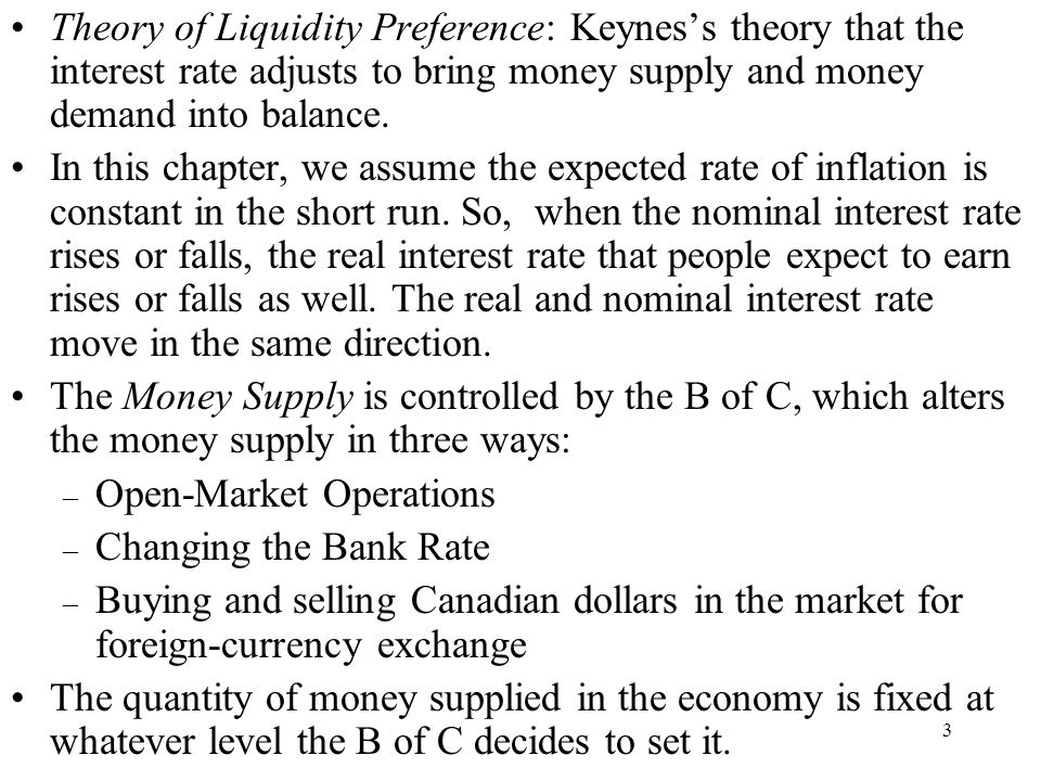 Theory of Liquidity Preference: Keynes's theory that the interest rate adjusts to bring money supply and money demand into balance.