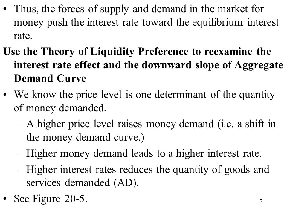 Thus, the forces of supply and demand in the market for money push the interest rate toward the equilibrium interest rate.