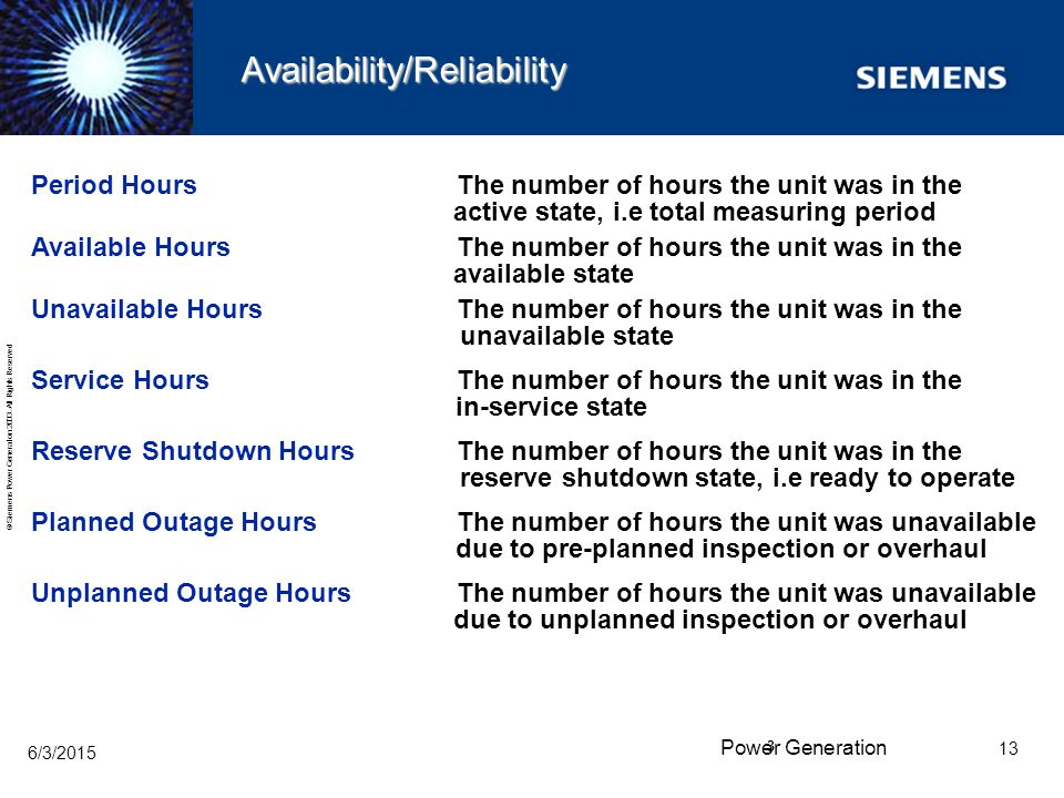 Availability/Reliability