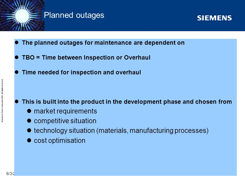 Planned outages market requirements competitive situation