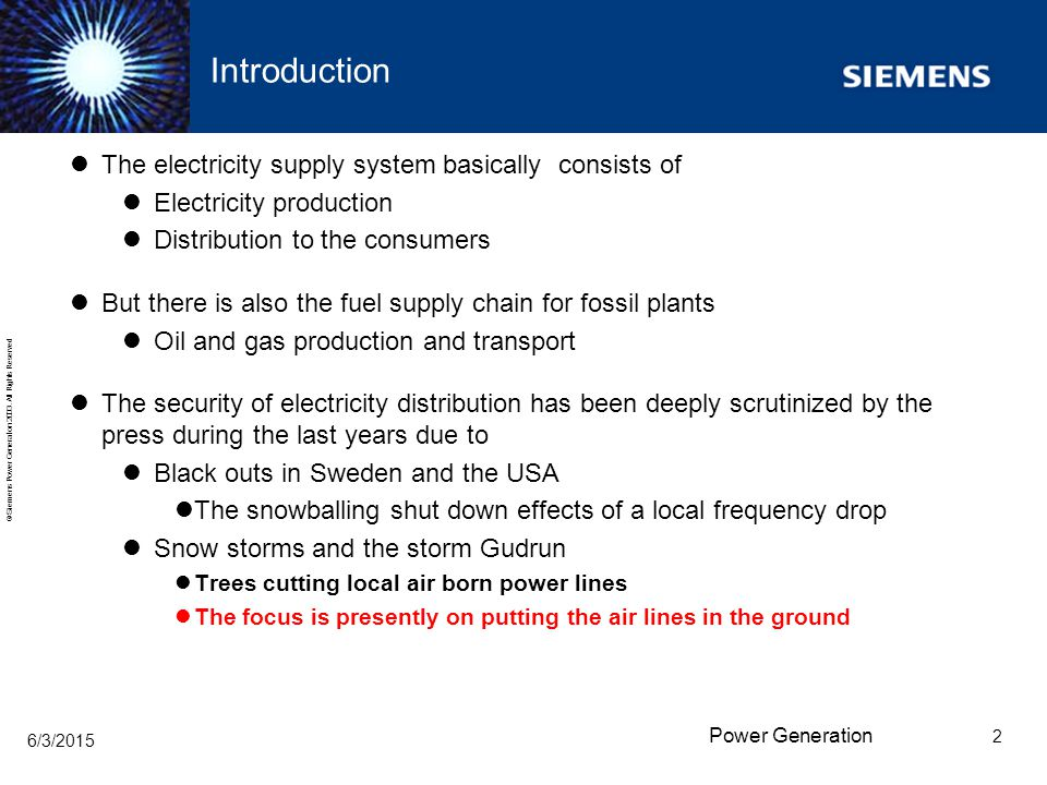 Introduction The electricity supply system basically consists of