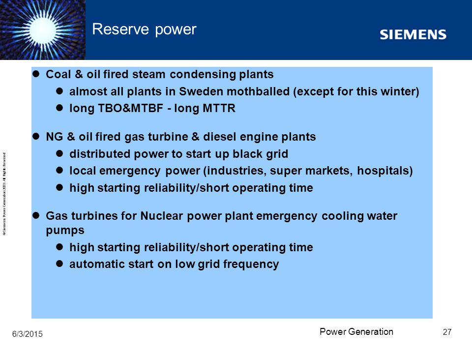 Reserve power Coal & oil fired steam condensing plants