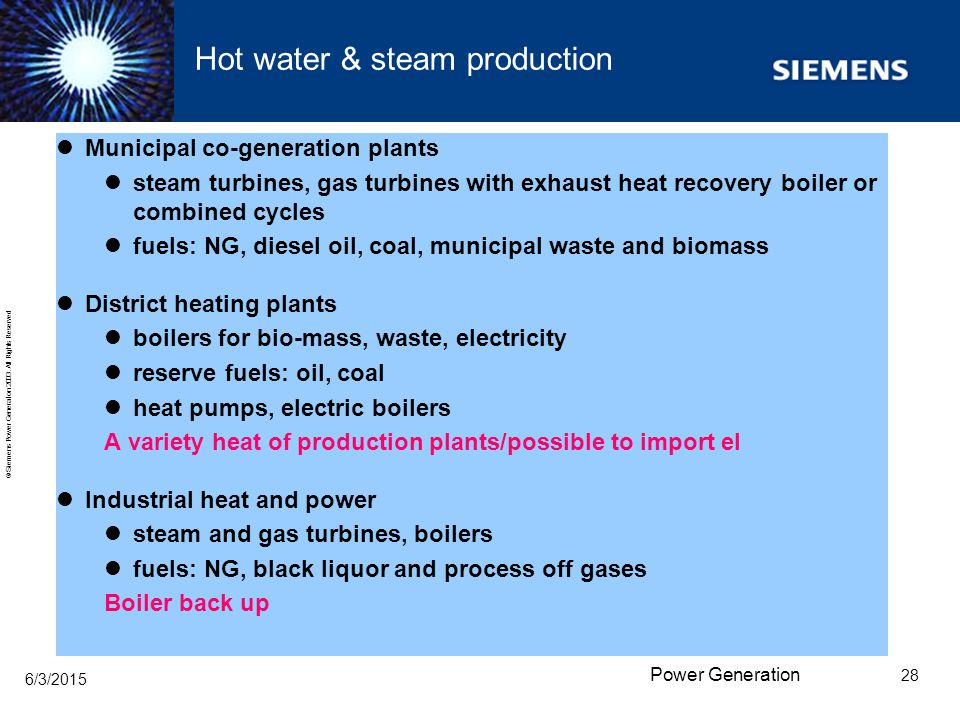 Hot water & steam production