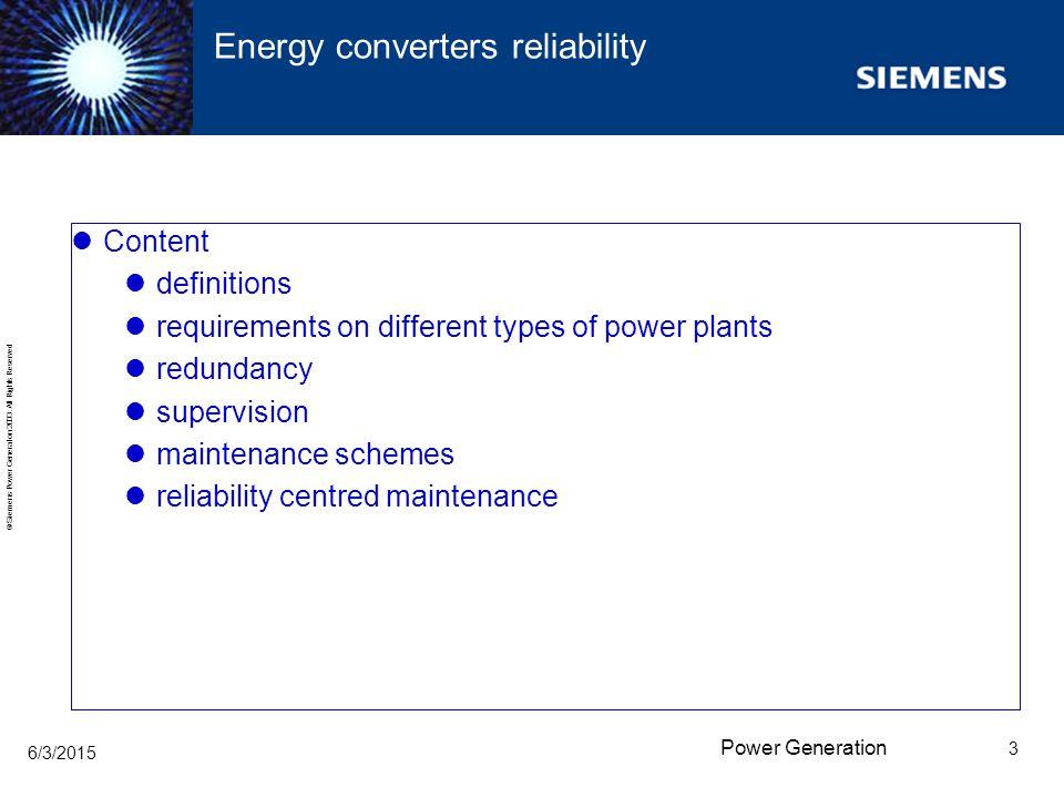 Energy converters reliability