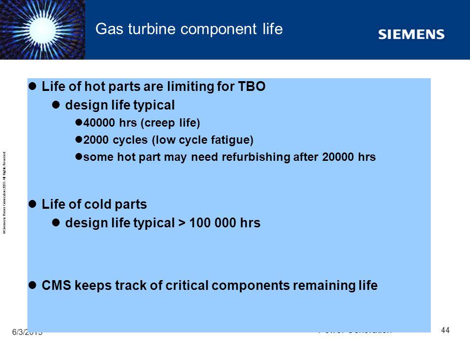 Gas turbine component life