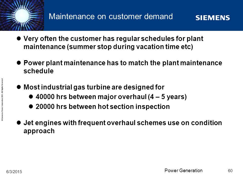Maintenance on customer demand