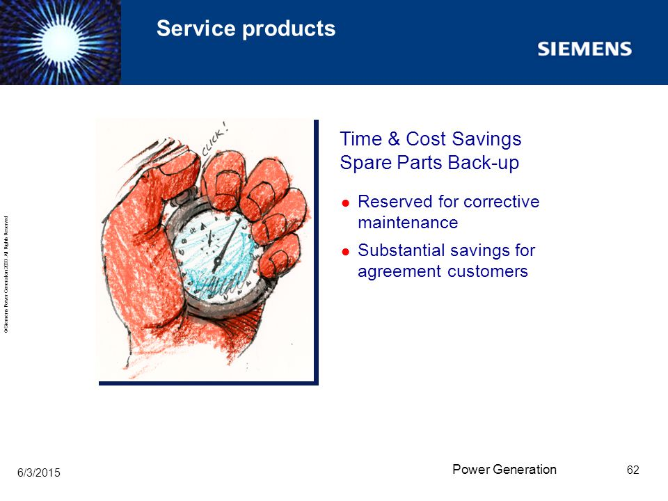 Service products Time & Cost Savings Spare Parts Back-up