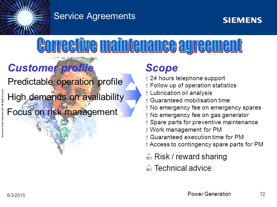 Corrective maintenance agreement
