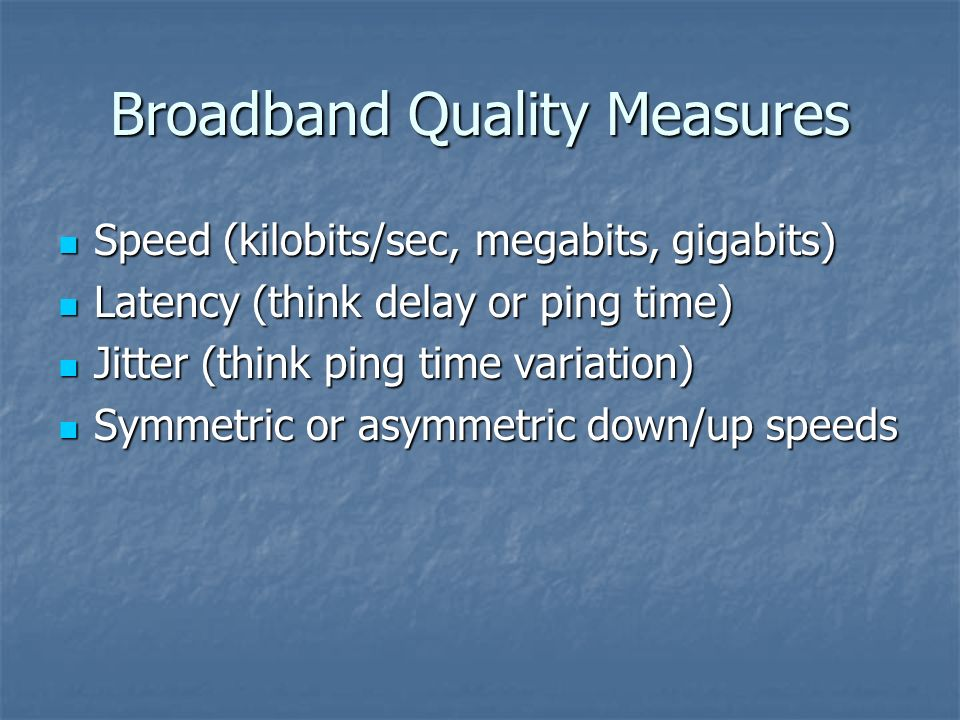 Broadband Quality Measures