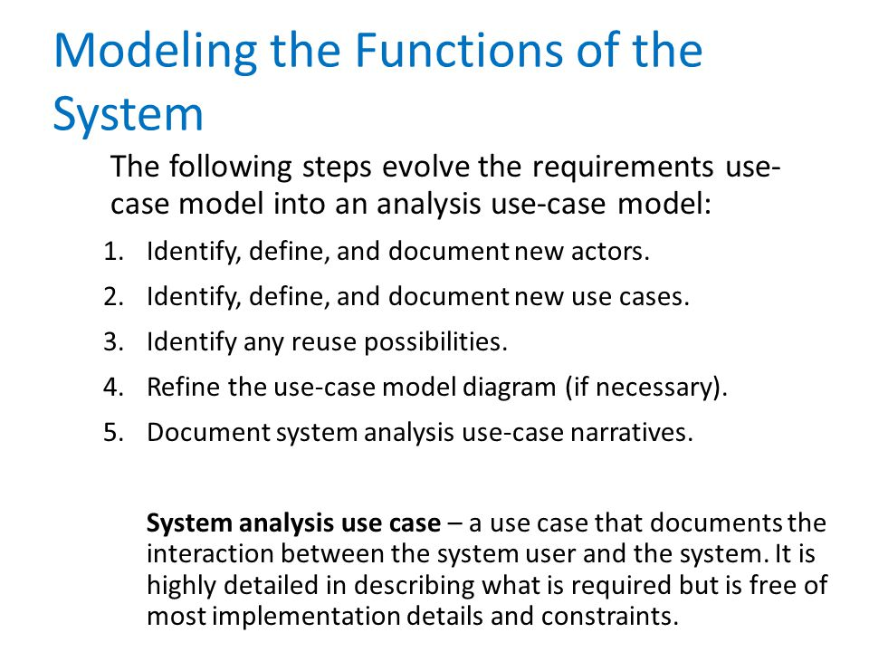 Modeling the Functions of the System