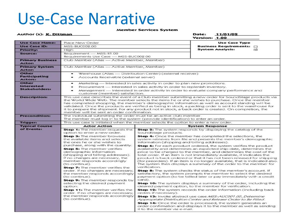 Use-Case Narrative Teaching Notes