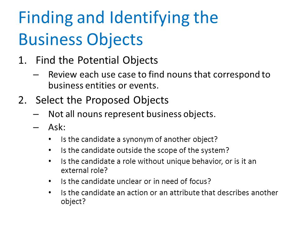 Finding and Identifying the Business Objects