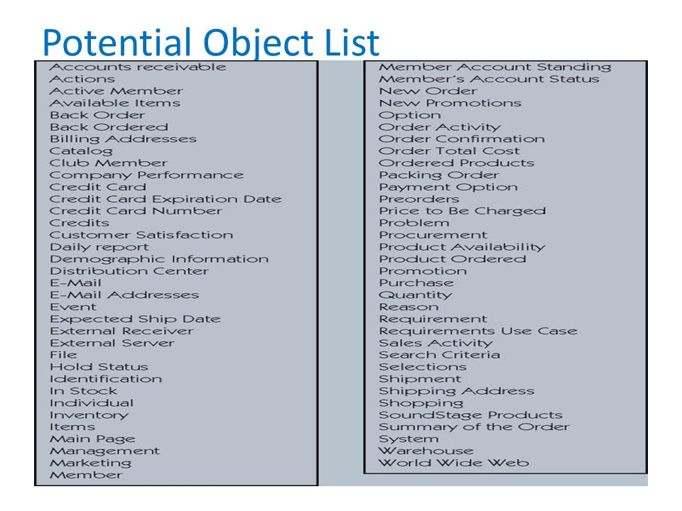 Potential Object List No additional notes.