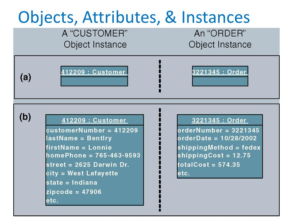Objects, Attributes, & Instances (cont.)