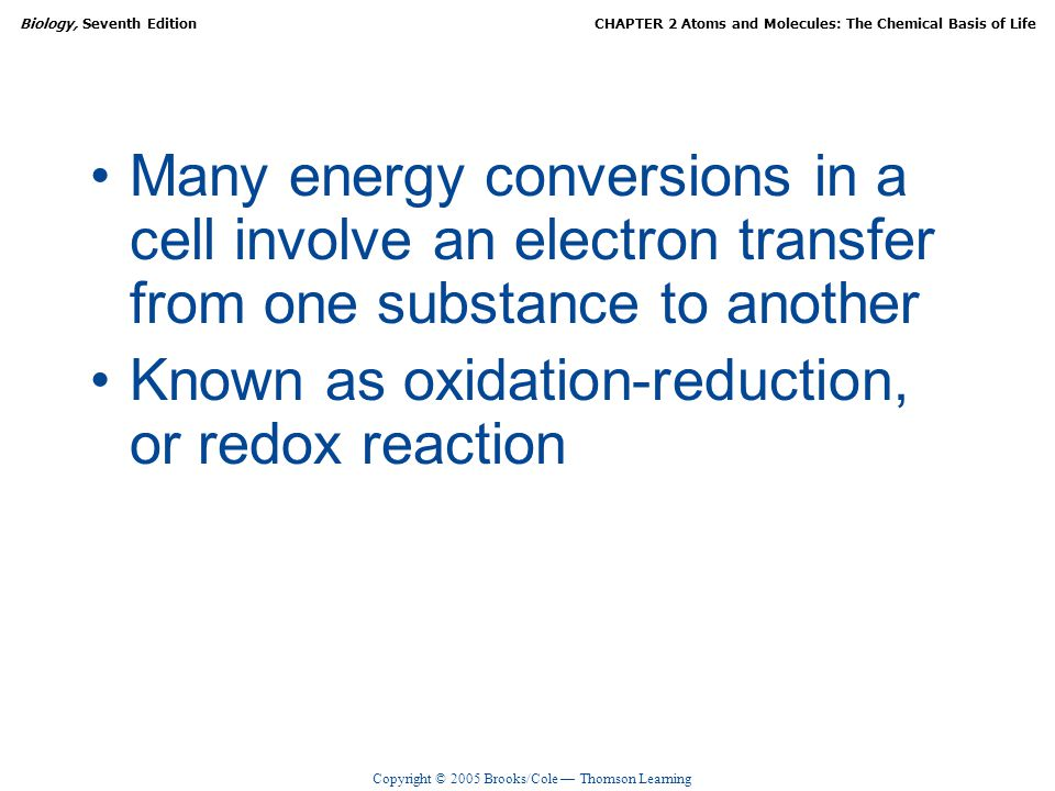 Many energy conversions in a cell involve an electron transfer from one substance to another