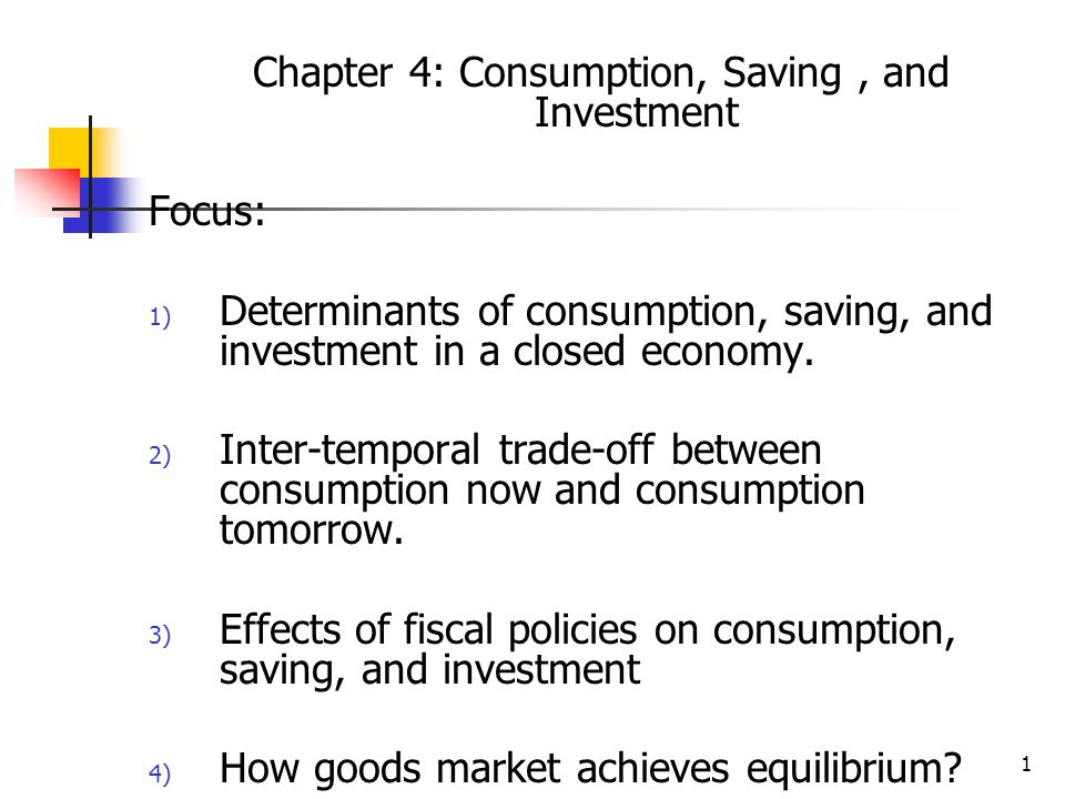 Chapter 4: Consumption, Saving , and Investment
