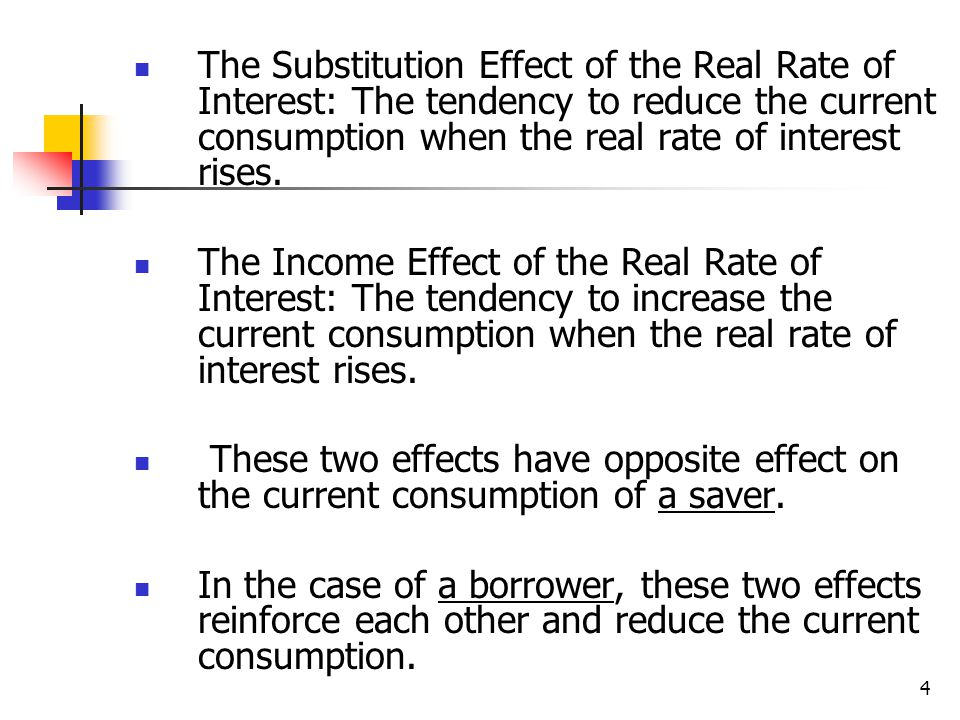 The Substitution Effect of the Real Rate of Interest: The tendency to reduce the current consumption when the real rate of interest rises.