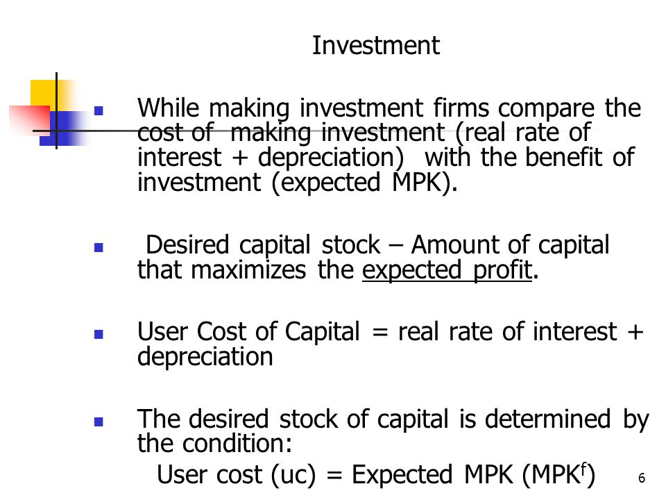User cost (uc) = Expected MPK (MPKf)