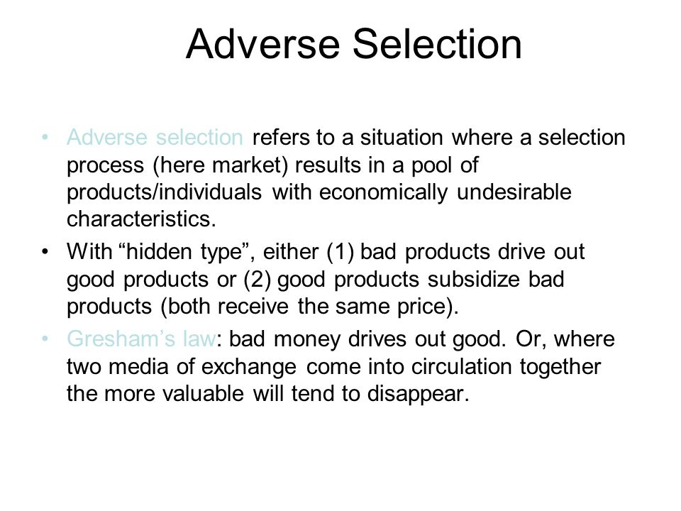 Adverse Selection Economics Used Car