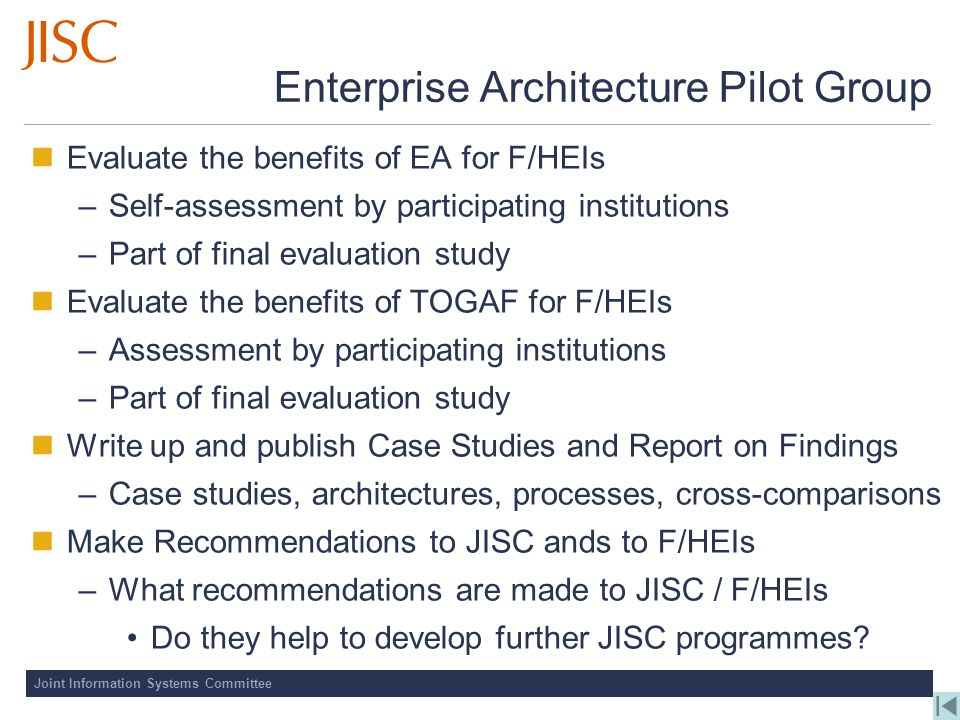 Enterprise Architecture Pilot Group