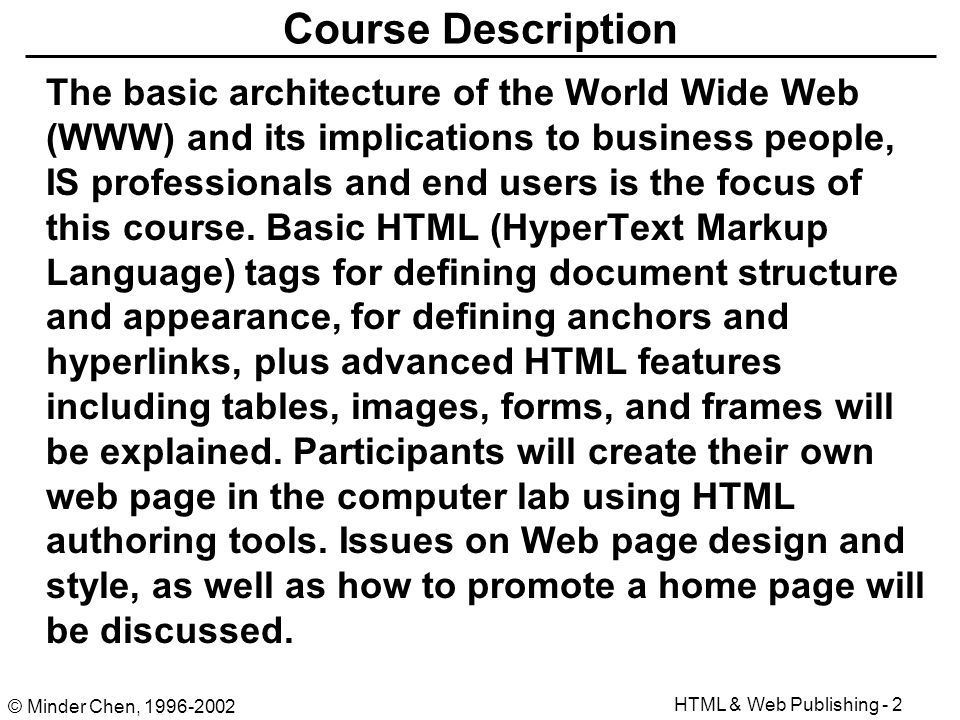 html authoring and web publishing