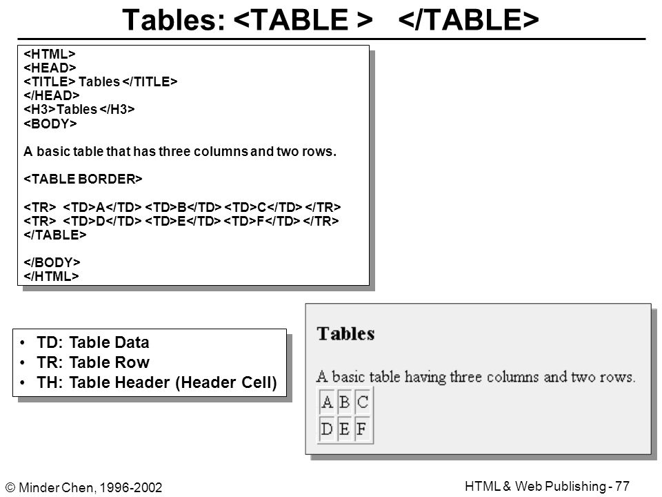 Html authoring and web publishing ppt download for Table header th