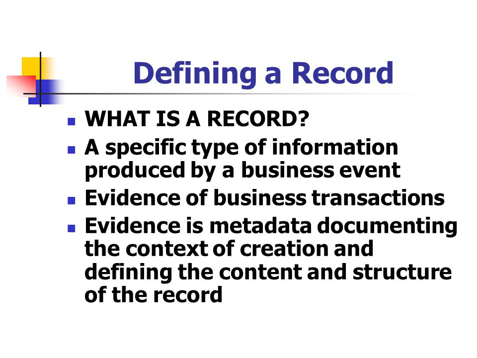 defining electronic records Society of american archivists duranti 1998, p 167) electronic records are not always copies, because a copy is by definition a reproduction of an original, a draft or another copy (the first copy made being always a reproduction of a document in a different status of transmission) therefore, electronic records having a different status of transmission must be created for copies to exist .