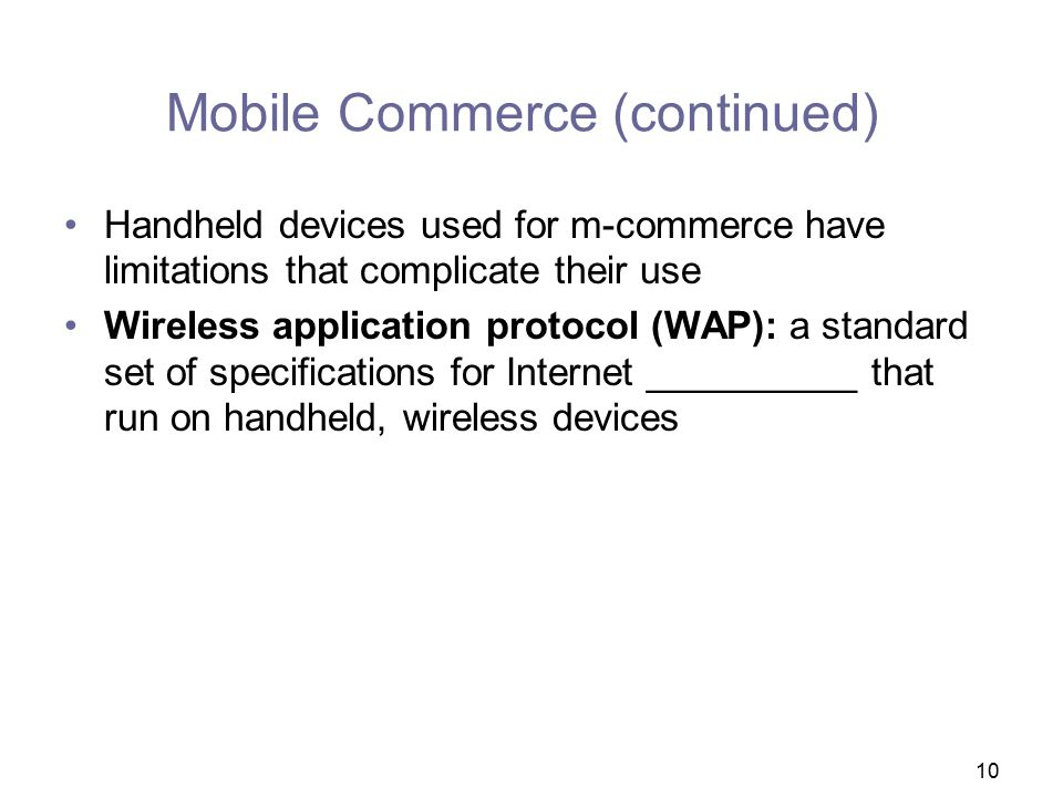 Mobile Commerce (continued)