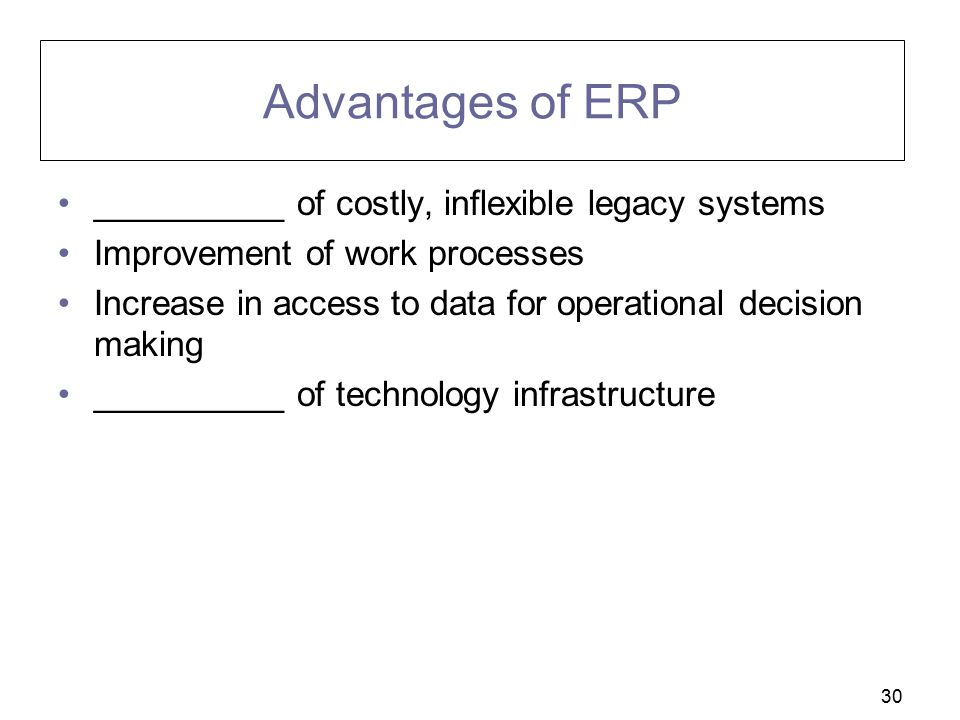 Advantages of ERP __________ of costly, inflexible legacy systems