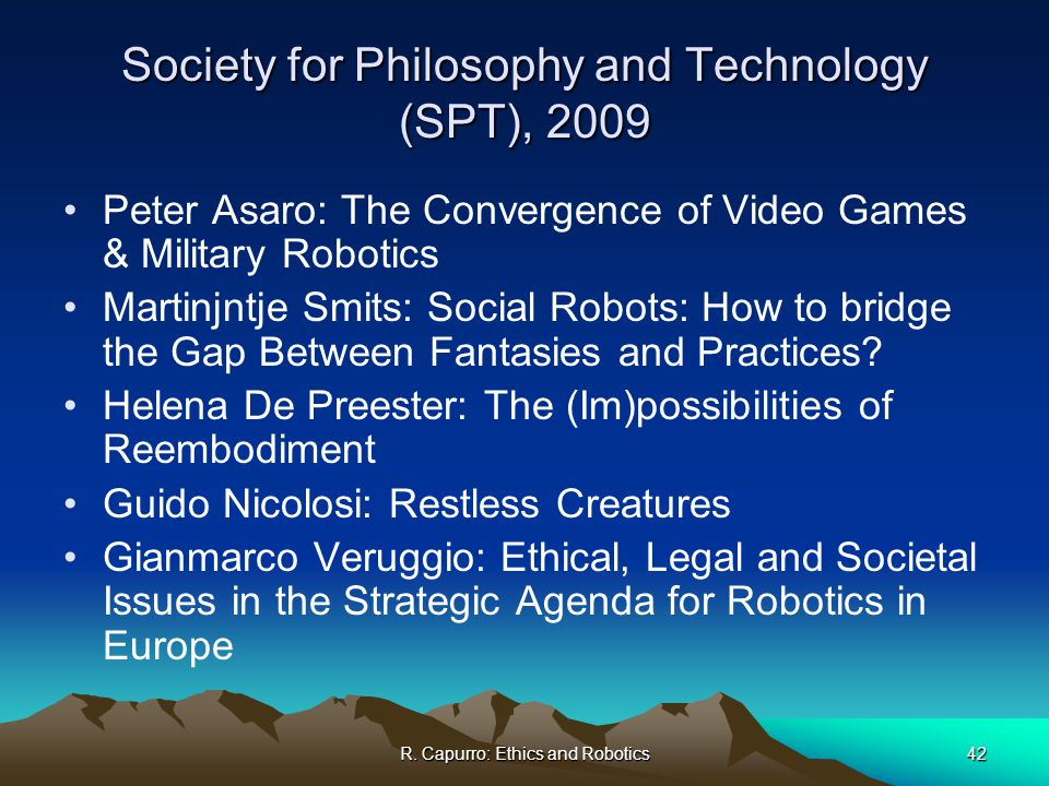 ethical issues robots society Legal and ethical issues in the use of telepresence robots legal and ethical issues in the use of telepresence robots:  about 15 hours ago from cyberlaw clinic's.