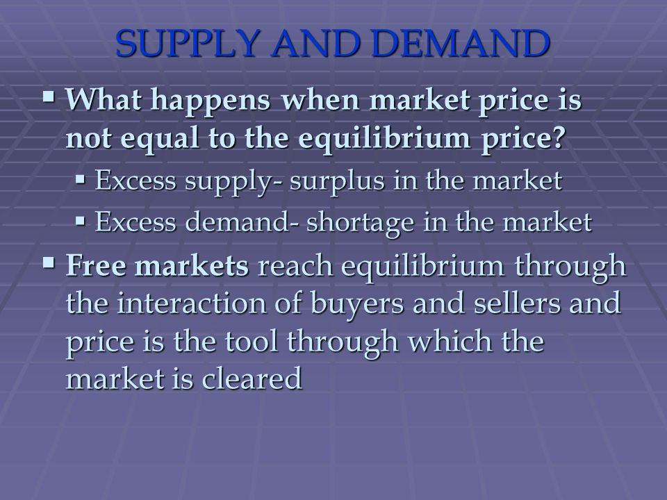 SUPPLY AND DEMAND What happens when market price is not equal to the equilibrium price Excess supply- surplus in the market.