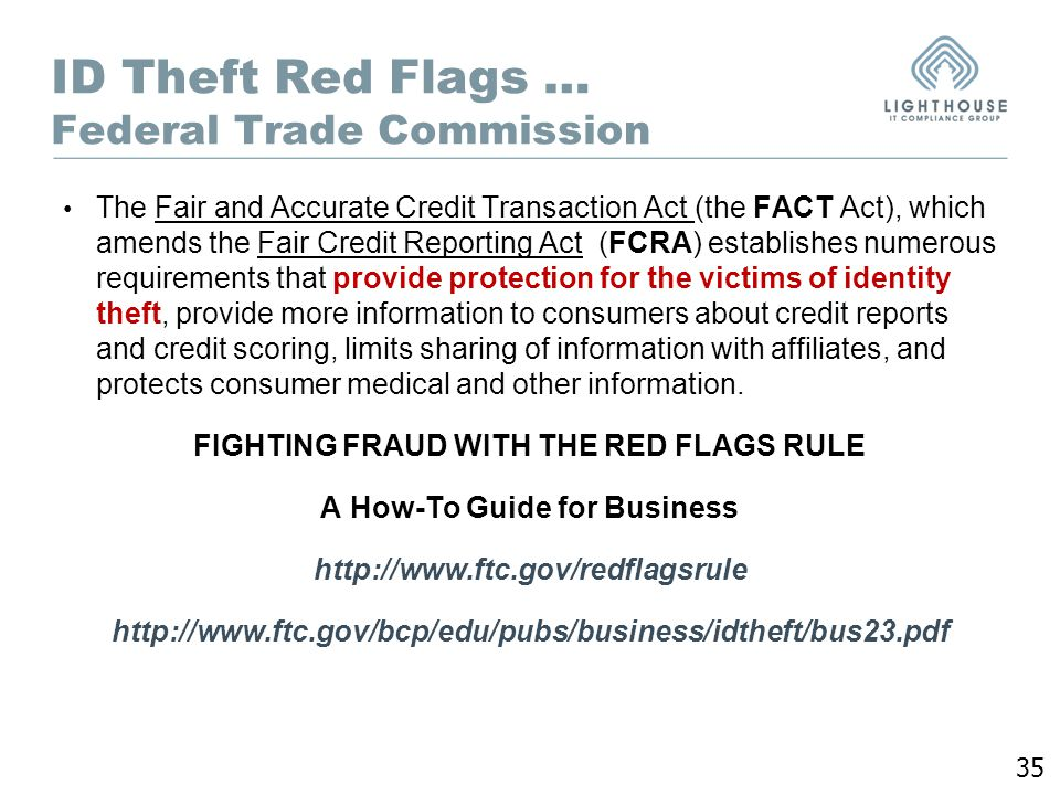 Information privacy pci dss ppt download 35 id theft red flags federal trade commission the fair and accurate credit transaction publicscrutiny Gallery