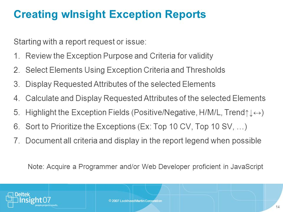 Creating wInsight Exception Reports