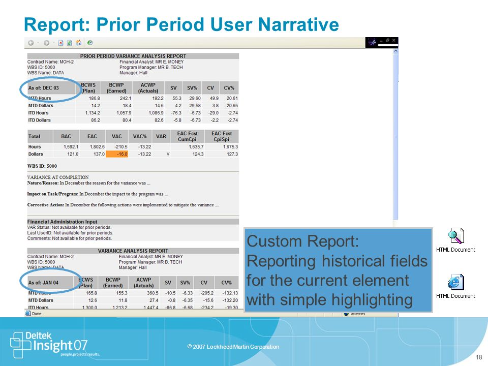 Report: Prior Period User Narrative