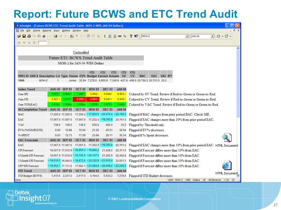 Report: Future BCWS and ETC Trend Audit