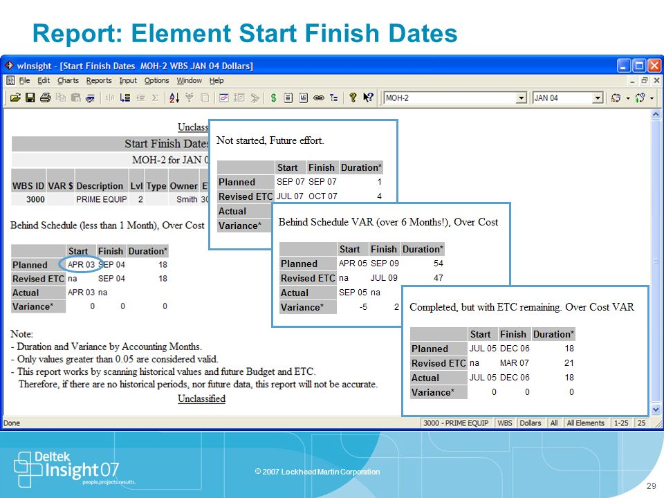 Report: Element Start Finish Dates