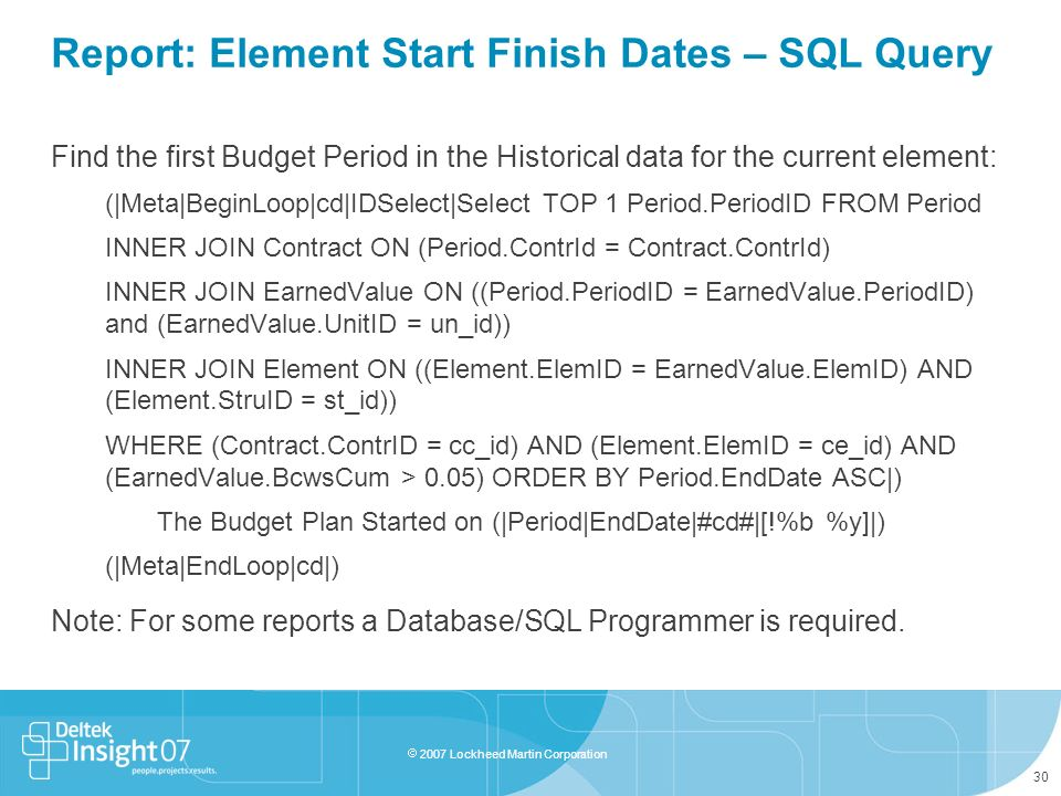Report: Element Start Finish Dates – SQL Query
