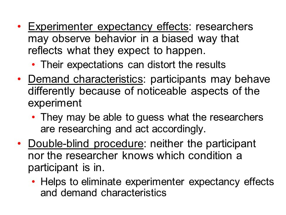 """experimenter expectancy effect on children in The observer-expectancy effect, which involves an experimenter's unconsciously biased expectations, is tested in real life situations rosenthal posited that biased expectancies can essentially affect reality and create self-fulfilling prophecies as a result""""."""