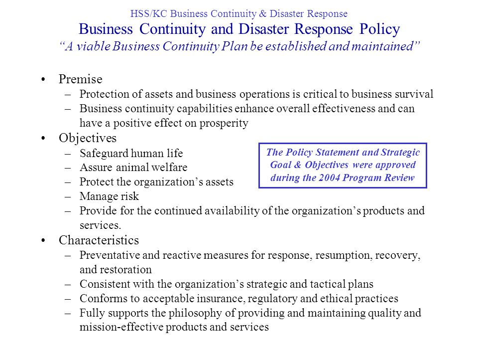 Business Continuity Plan - Genesis