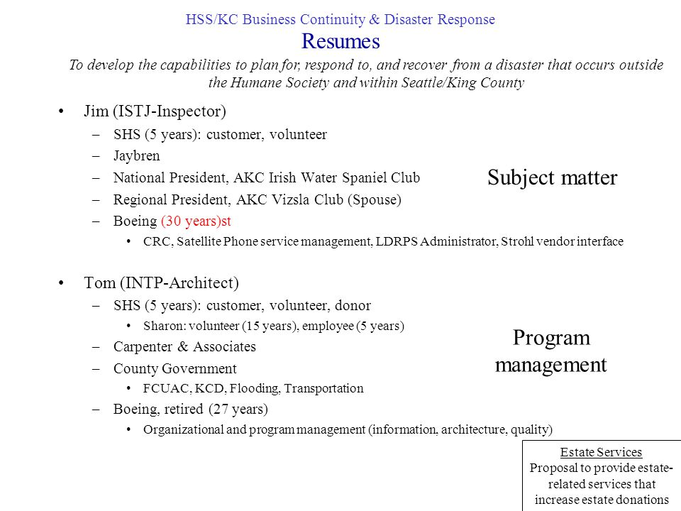 HSS/KC Business Continuity & Disaster Response - ppt download