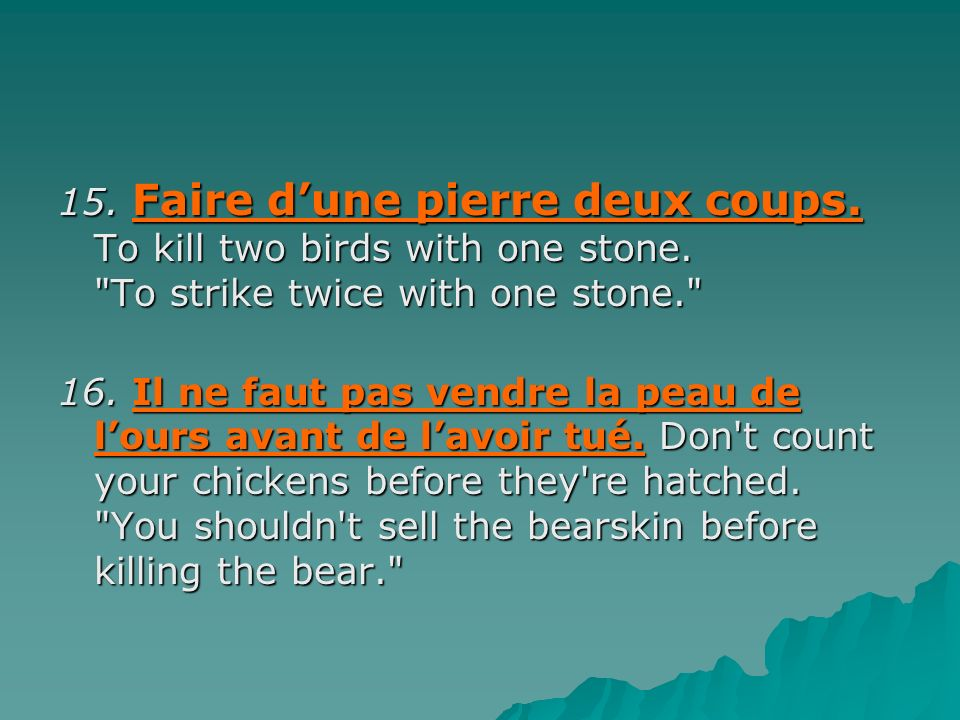15. Faire d'une pierre deux coups. To kill two birds with one stone