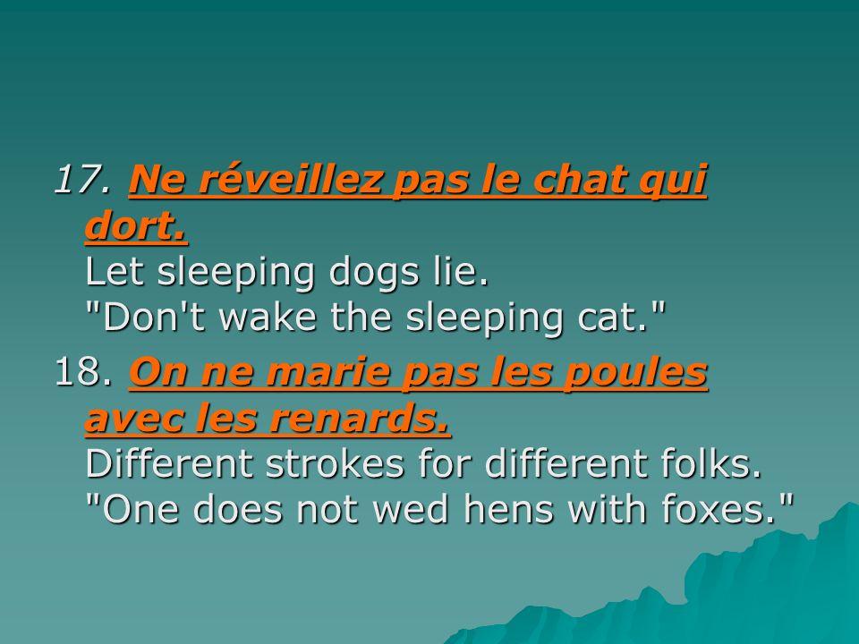 17. Ne réveillez pas le chat qui dort. Let sleeping dogs lie