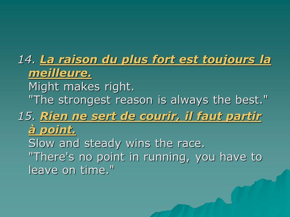 14. La raison du plus fort est toujours la meilleure. Might makes right. The strongest reason is always the best.