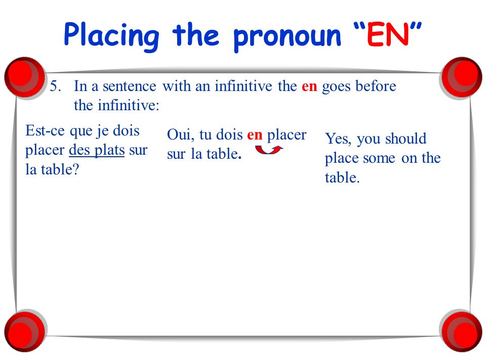 Placing the pronoun EN