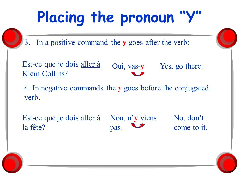 Placing the pronoun Y