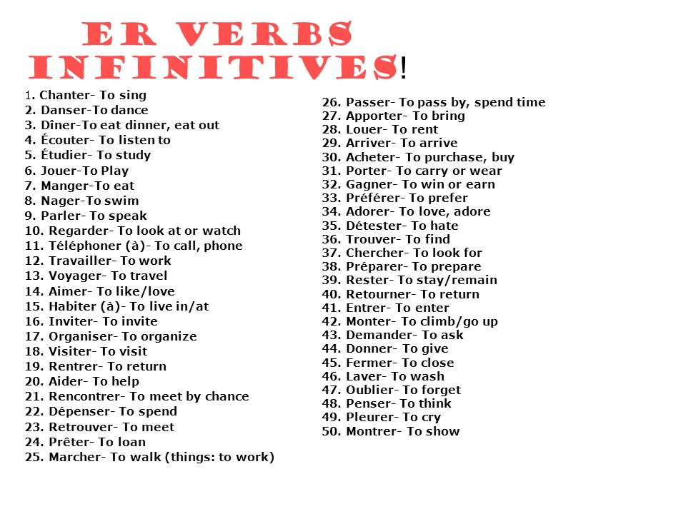 ER VERBS INFINITIVES! 1. Chanter- To sing 2. Danser-To dance