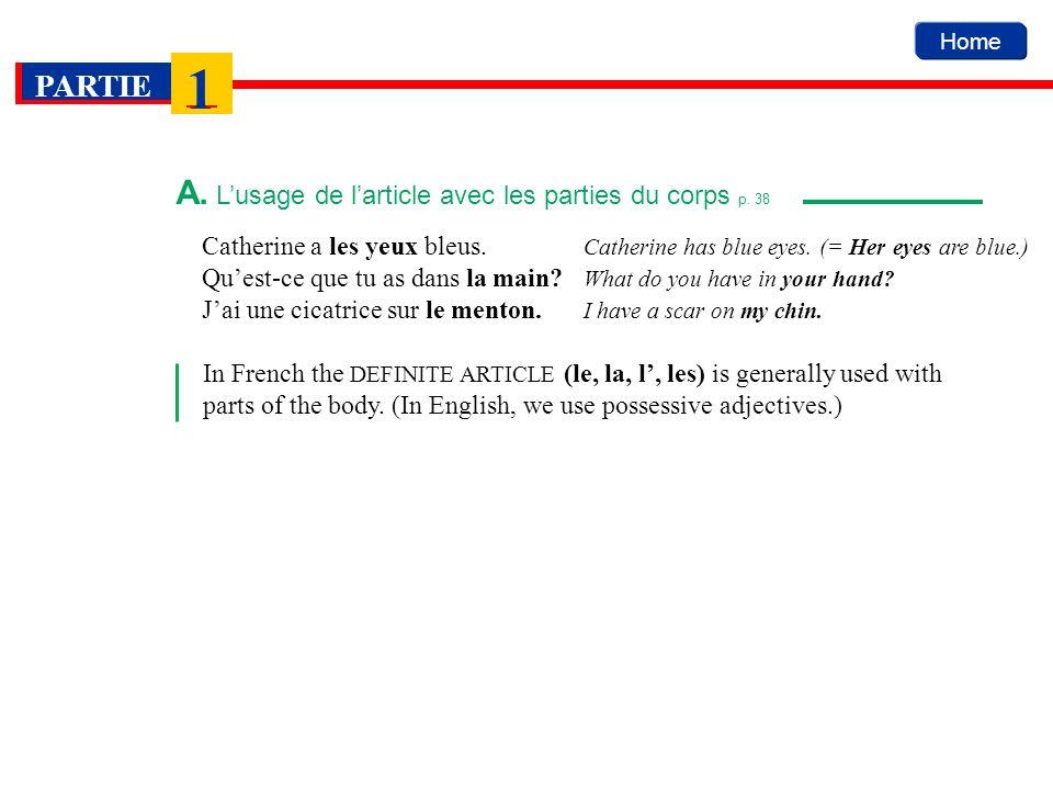 A. L'usage de l'article avec les parties du corps p. 38