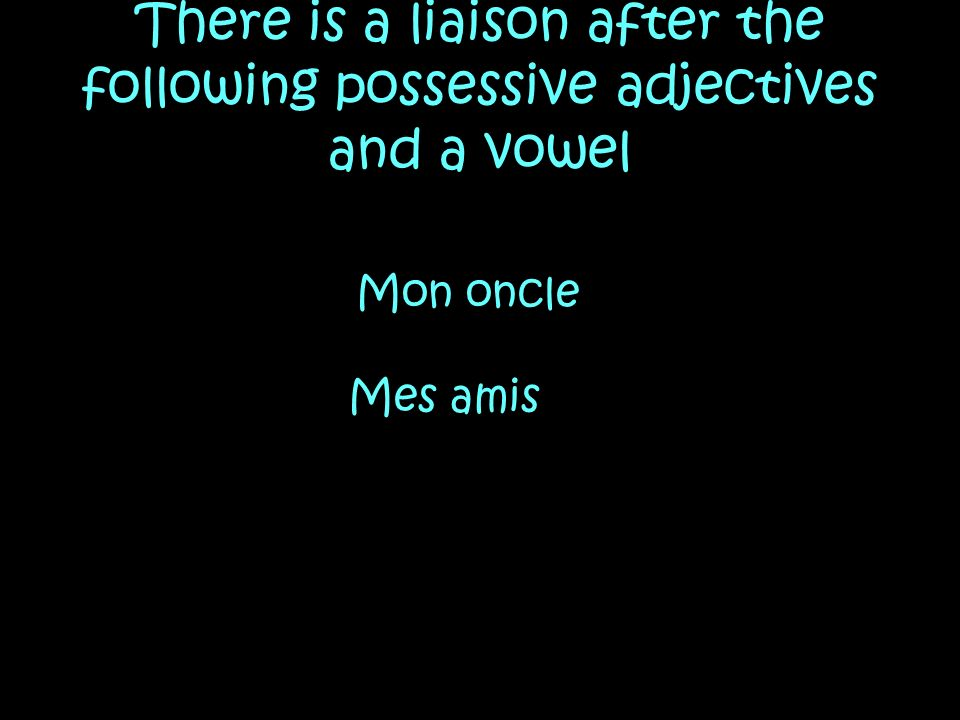 There is a liaison after the following possessive adjectives and a vowel